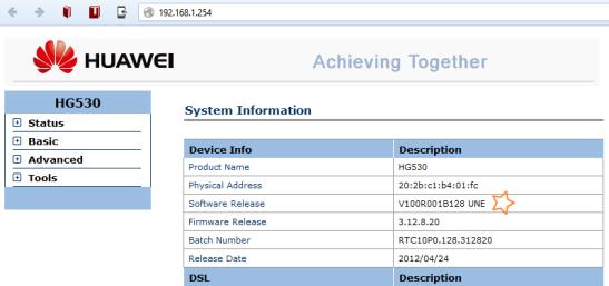 Gestión WEB Huawei HG530