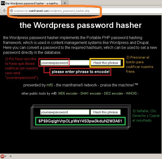 Webissues - Codificar nuestro password