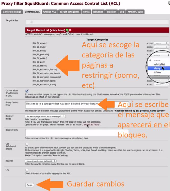 PFSense – Filtrado Páginas (Proxy) Squid + SquidGuard 20
