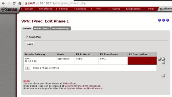 PFSense IPSEC Site to Site 05