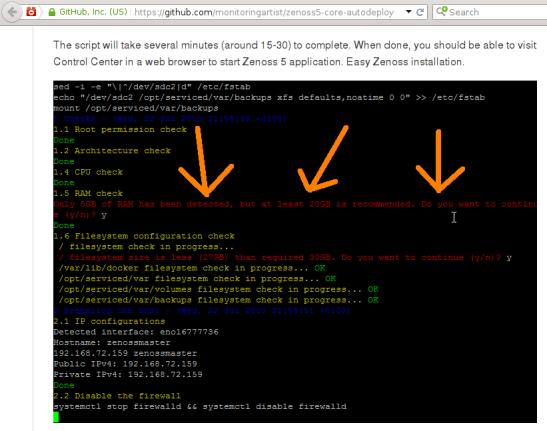 Zenoss 5 - Requerimientos RAM mencionados en instalacion
